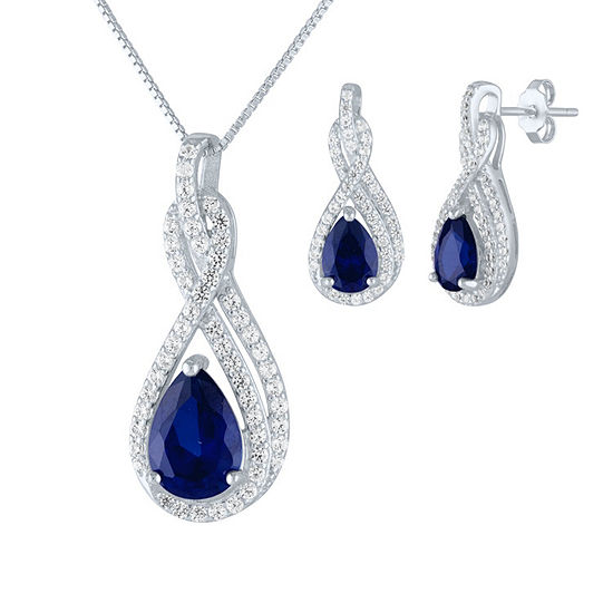 Lab Created Blue Sapphire Sterling Silver Jewelry Set