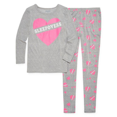 Arizona Tight Fit Sleepover Heart 2pc Pajama Set - Girls