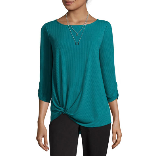 Alyx Womens Round Neck 3/4 Sleeve Knit Blouse