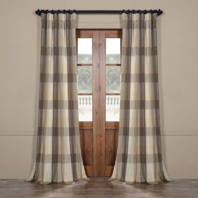 Exclusive Fabrics & Furnishing Sutton Faux Silk Plaid Rod-Pocket/Back-Tab Curtain Panel