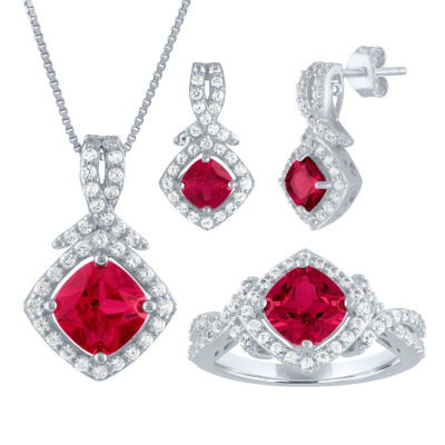 Lab Created Red Ruby Sterling Silver Jewelry Set