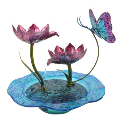 Peaktop Home Decor Butterfly Fusion Glass Tabletop Water Fountain