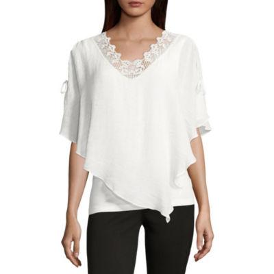 Alyx Short Sleeve V Neck Knit Blouse