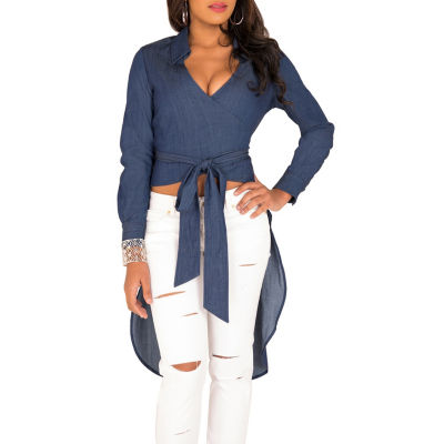 Poetic Justice Tencel Long Sleeve Hi Lo Wrap Top