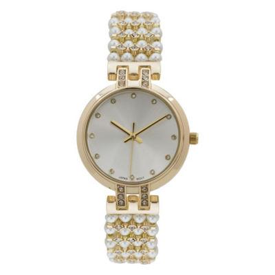 Geneva Platinum Womens Gold Tone Bracelet Watch-15181