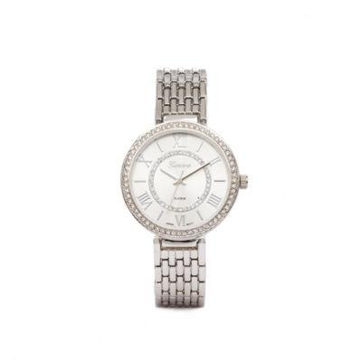 Geneva Platinum Womens Silver Tone Bracelet Watch-5883