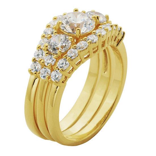 Diamonart Womens White Cubic Zirconia 14k Gold Over Silver Bridal Set