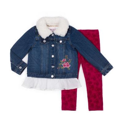 Little Lass 3-pc.Wild Heart Jacket Legging Set-Baby Girls