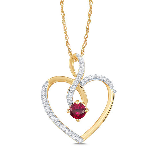 Womens 1 8 Ct Tw Lead Glass Filled Red Ruby 10k Gold Pendant Necklace
