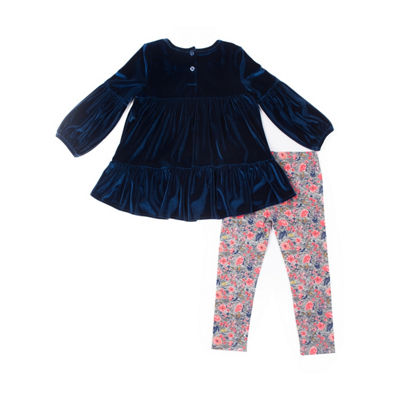 Little Lass 2-pc Braid Velvet Legging Set-Baby Girls