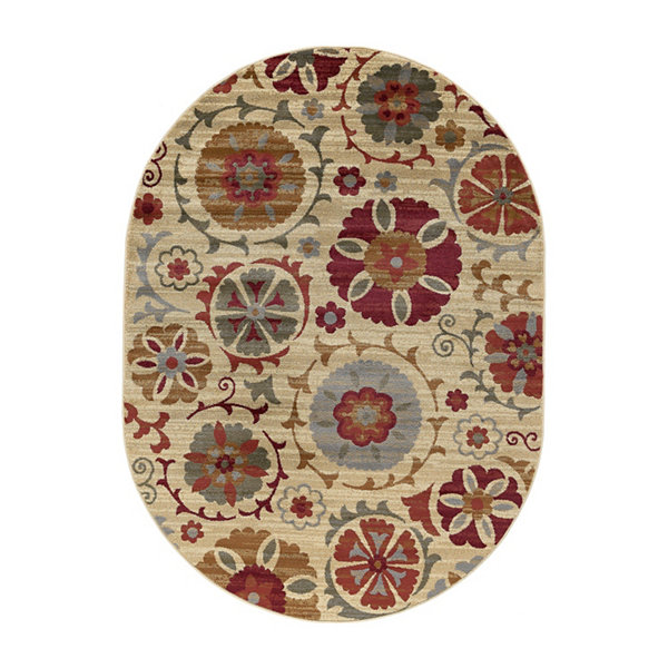 Tayse Suzana Transitional Floral Oval Area Rug