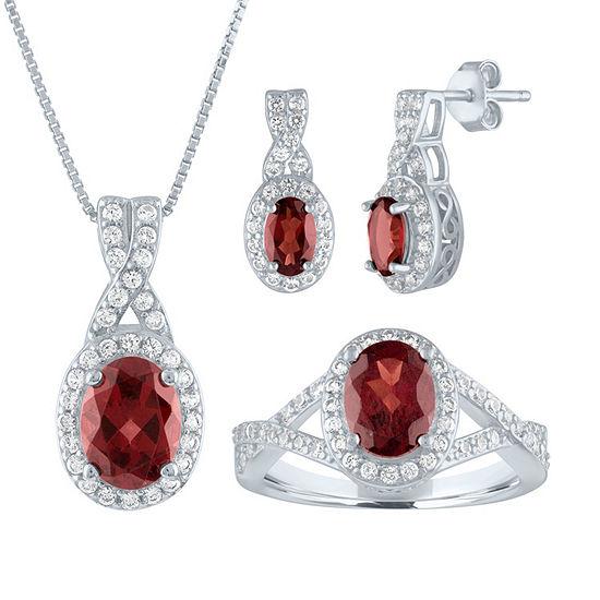 Genuine Red Garnet Sterling Silver 3-pc. Jewelry Set