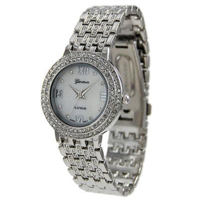 Geneva Platinum Womens Silver Tone Bracelet Watch-7521