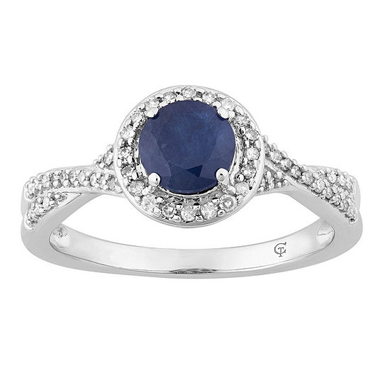 Womens 1 4 Ct Tw Genuine Blue Sapphire 10k White Gold Cocktail Ring