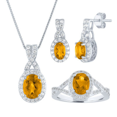Womens 3-pc. Yellow Citrine Sterling Silver Jewelry Set