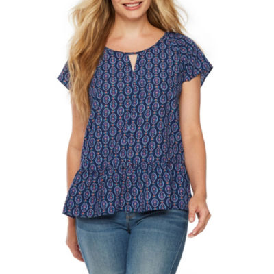 a.n.a Womens Scoop Neck Short Sleeve Blouse-Petite