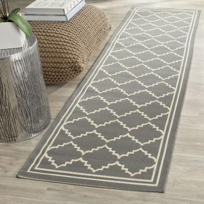 Safavieh Courtyard Collection Skin Geometric Indoor/Outdoor Runner Rug