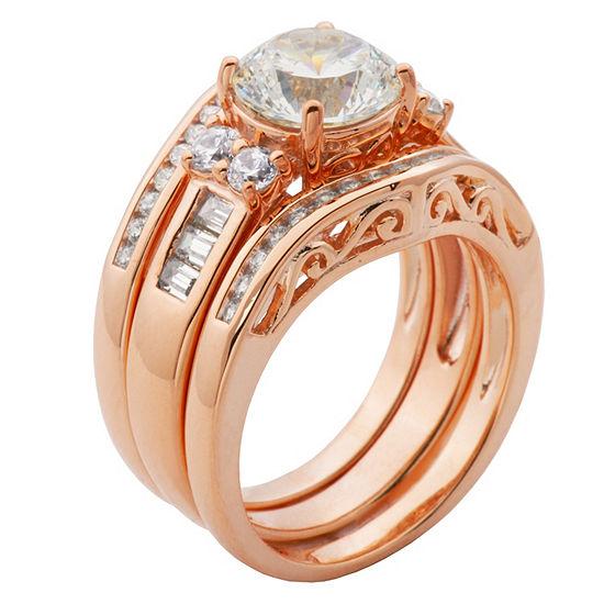 Diamonart Womens White Cubic Zirconia 14K Rose Gold Over Silver Bridal Set