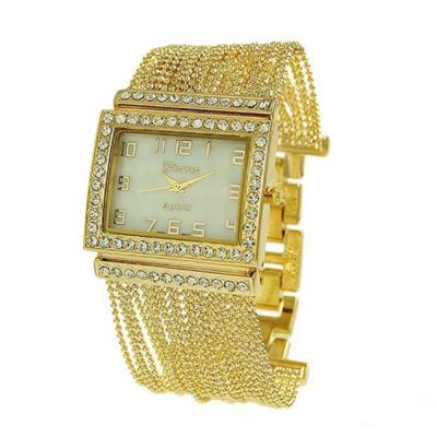 Geneva Platinum Womens Gold Tone Bracelet Watch-9239