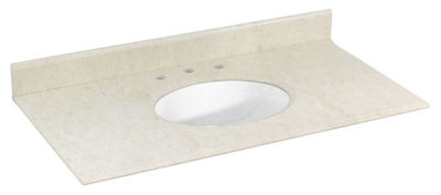 43.5-in. W 22.5-in. D Marble Top With Backsplash In Beige Color For 3H8-in. Faucet - White UM Sink