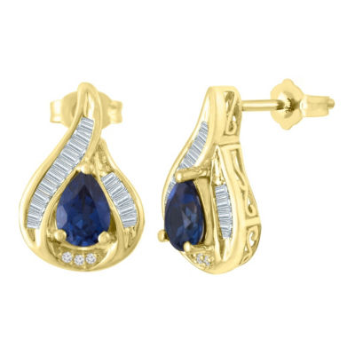 Lab Created Blue Sapphire 10K Gold Over Silver 18mm Stud Earrings