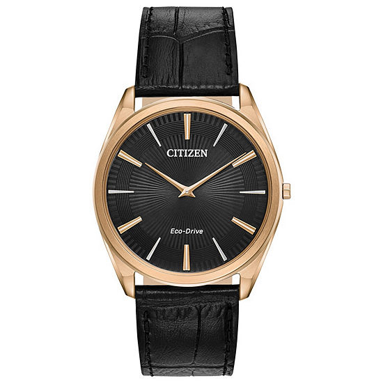 Citizen Stiletto Mens Black Leather Strap Watch-Ar3073-06e