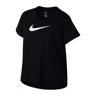 Nike® Swoosh Short Sleeve Crew Neck T-Shirt-Womens Plus