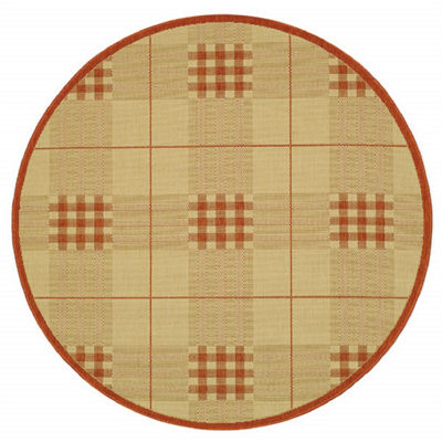 Safavieh Courtyard Collection Arthur Plaid Indoor/Outdoor Round Area Rug
