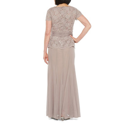 Onyx Nites Short Sleeve Lace Evening Gown