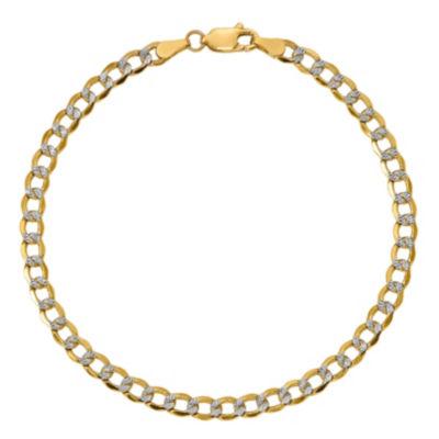 Womens 7 Inch 14K Gold Chain Bracelet