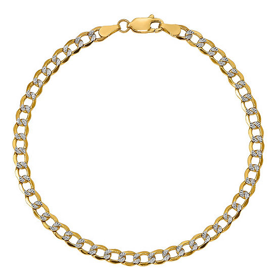 14K Gold 7 Inch Semisolid Curb Chain Bracelet