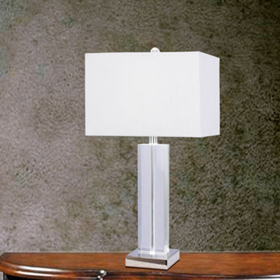 Fangio Lighting's #5132 27 inch Clear Crystal & Polished Nickel Metal Table Lamp w/LED Nightlight
