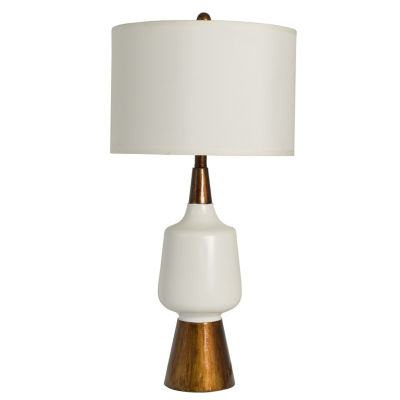 Decor Therapy Satin White and Faux Wood Table Lamp