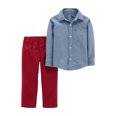Carter's 2pc Chambray Shirt & Red Pant Set - Baby Boy
