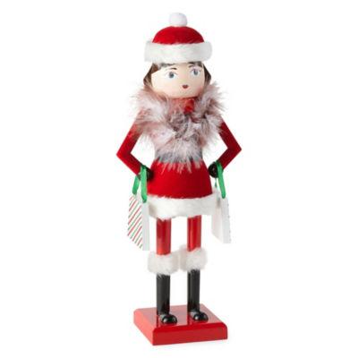 North Pole Trading Co. 14 Inch Shopping Girl Nutcracker