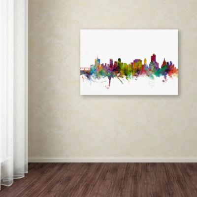 Trademark Fine Art Michael Tompsett Tulsa OklahomaSkyline Giclee Canvas Art
