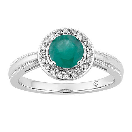 Womens 1/8 CT. T.W. Genuine Green Emerald 10K White Gold Cocktail Ring, 8