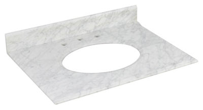 31.25-in. W 22-in. D Marble Top In Bianca Carara Color For 3H8-in. Faucet