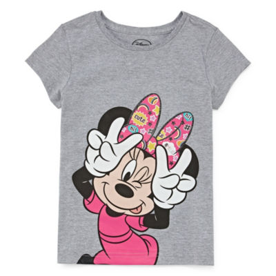 Disney Girls Round Neck Short Sleeve Minnie Mouse Graphic T-Shirt-Big Kid