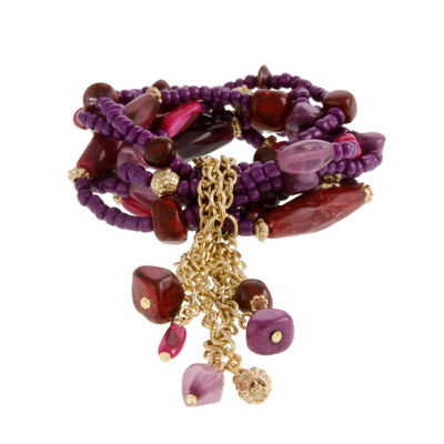 EL by Erica Lyons 6/25 El Plum Womens Beaded Bracelet