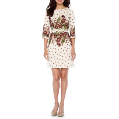 Danny & Nicole 3/4 Sleeve Embroidered Floral Fit & Flare Dress