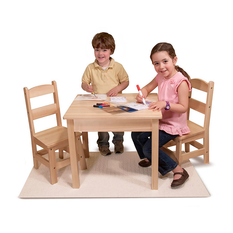 Melissa and Doug 3-Piece Wooden Kids Table and Chairs Set, Natural, One Size