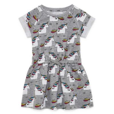 Okie Dokie Short Sleeve Swing Dresses-Toddler Girls
