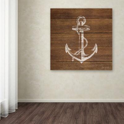 Trademark Fine Art Stephanie Marrott Anchor On Wood Giclee Canvas Art