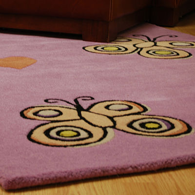 ST. CROIX TRADING Purple Playful Butterfly KissesRug