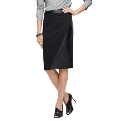 Phistic Women'S Faux Leather Trim Pencil Skirt