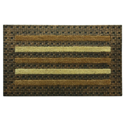 Bacova Guild Framed Tile Stripe Rectangular Outdoor Doormat