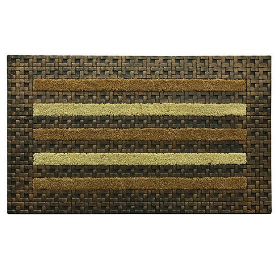 Bacova Guild Framed Tile Stripe Rectangular Outdoor Doormat