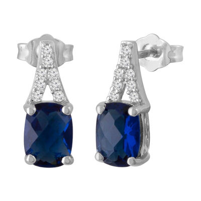 Lab Created Blue Sapphire Sterling Silver 15mm Stud Earrings