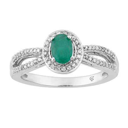 Womens 1/5 CT. T.W. Genuine Green Emerald 10K White Gold Cocktail Ring, 8